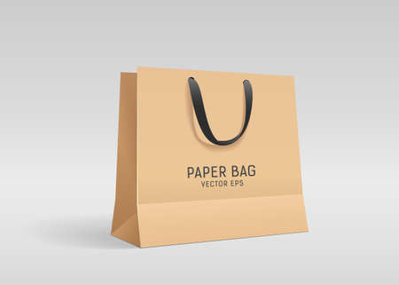 Brown paper bag, with black cloth handle design, template on gray background