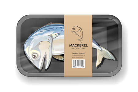 Mackerel fish one, in black foam tray wrapped in plastic packaging with brown label, design on gray background Ilustração