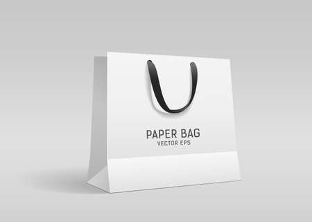 White paper bag, with black cloth handle design, template on gray background