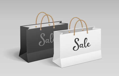 White and Black paper bag, Shopping sale, with rope handles, mock up design, on gray background, Eps 10 vector illustration Иллюстрация