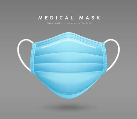 Face mask blue color, realistic mock up template design, on gray background Ilustração