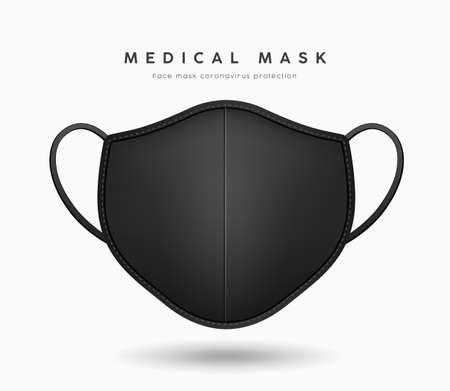 Face mask black color, realistic mock up template design, on gray background, Ilustração