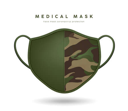 Face mask cloth pattern soldier green color design isolated on white background