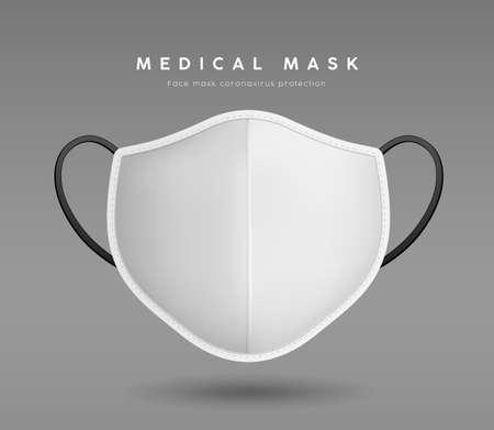 Face Mask White color, realistic mock up template design, on gray background Ilustração