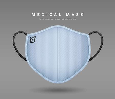 Face Mask Light blue color, realistic mock up template design, on gray background Ilustração