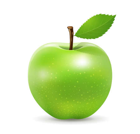 Green apple fresh and green leaf design, isolated on white background, Eps 10 vector illustration