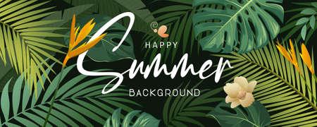 Happy Summer tropical green leaf and flower banner background, Eps 10 vector illustration