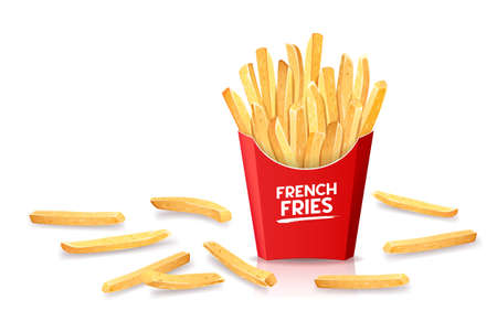 French fries in red box and dropped outside the box, template design. isolated on white background Eps 10 vector illustration