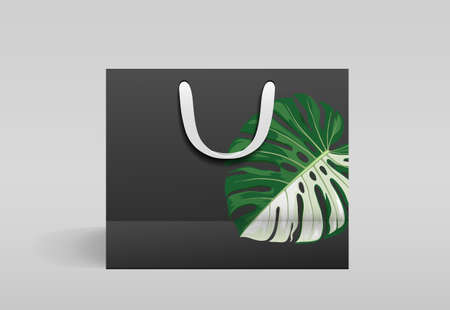 Black paper bag front design, with monstera leaf print, template on gray background Eps 10 vector illustration