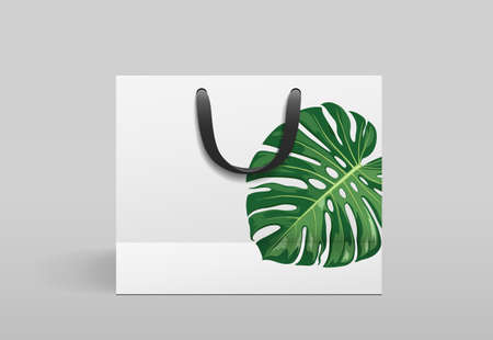 White paper bag front design, with monstera leaf print, template on gray background Eps 10 vector illustration