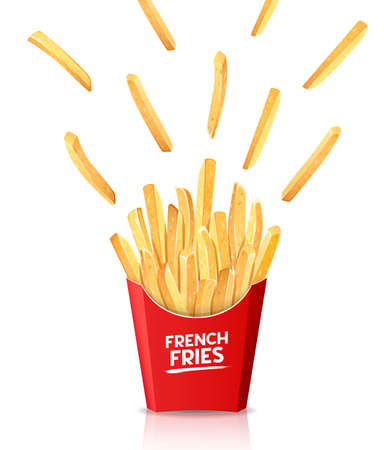 French fries in red box, spread out into the air, template design isolated on white background, Eps 10 vector illustration