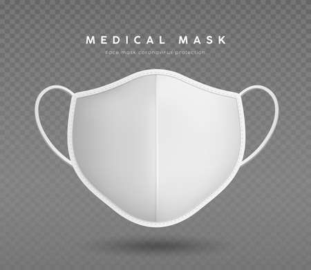 Cloth face mask white color with white mask straps, realistic mock up template design, on transparent grid background, vector illustration