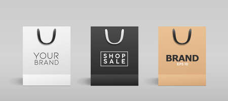 White paper bag, balck paper bag, brown paper bag, with black and white cloth handle collections design, template on gray background, Eps 10 vector illustration