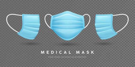 Face mask medical, blue template front and side, on transparent grid background, vector illustration