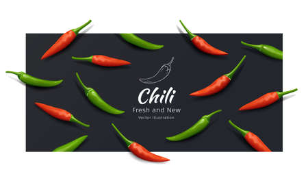 Chili pepper red and green fresh and new pattern, realistic design on balck background, Eps 10 vector illustration