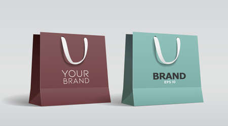 Green paper bag and Brown paper bag with white cloth handle design template, on gray background Eps 10 vector illustration