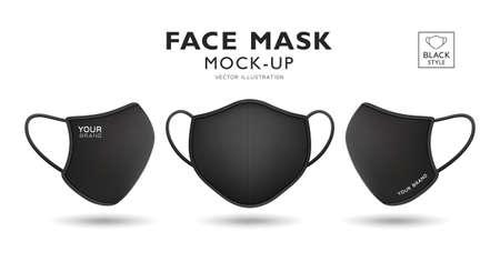 Face mask fabric black color mockup front and side, realistic template design, isolated on white background, vector illustration Ilustração