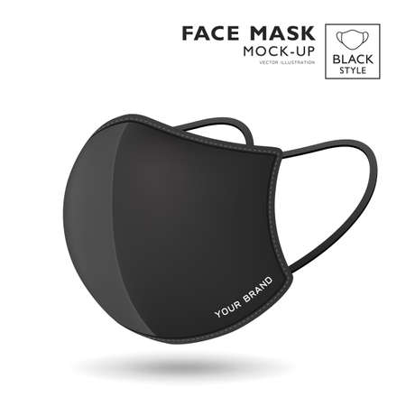 Face mask fabric black color mock up side view, realistic template design, isolated on white background, vector illustration Ilustração
