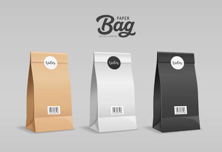 Brown, White, Black Paper bag folded, mouth bag there are circle stickers and barcodes, mock up template collection design, on gray background Eps 10 vector illustration Vector Illustratie