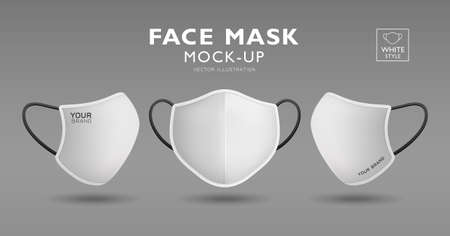 Face mask fabric white color mockup front and side, realistic template design, isolated on white background, vector illustration