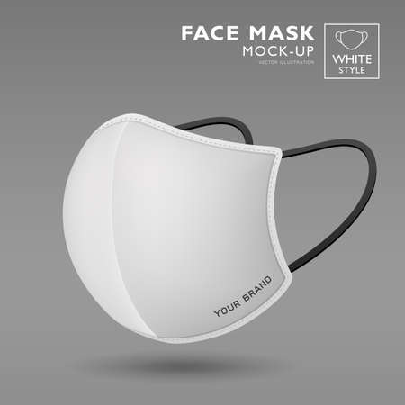 Face mask fabric white color mock up side view, realistic template design, isolated on white background