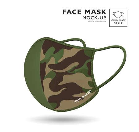 Cloth green camouflage pattern face mask design isolated on white background Ilustração
