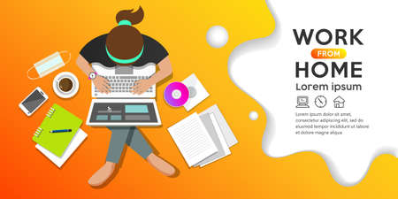 Work from home concept, woman sitting work computer, top view banner design on orange background, Eps 10 vector illustration