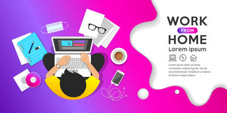 Work from home concept, man sitting work computer, top view banner design on purple background, vector illustration