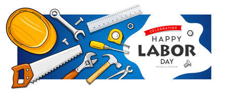 Happy labor day, Construction tools, banner design on bue background, Eps 10 vector illustration