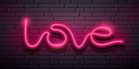 Love message, Neon iight pink, design on block wall black background, Eps 10 vector illustration Ilustração