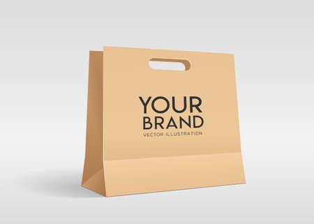 Brown Piercing bag paper bag, mock up design template on gray background, Eps 10 vector illustration