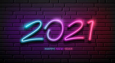 2021 Neon Light number, happy new year, design on block wall black background, Eps 10 vector illustration