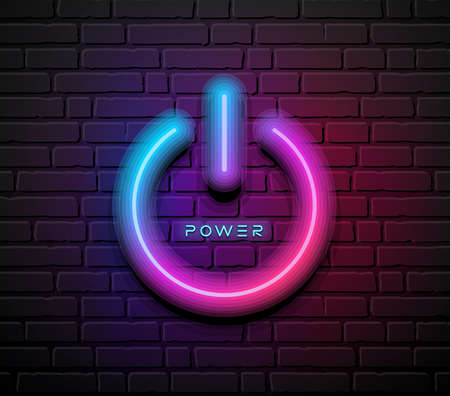 On off power symbol neon light, design on block wall black background, Eps 10 vector illustration