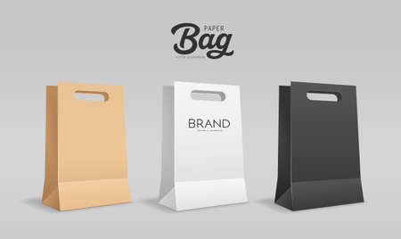 Paper bags with perforated handle collections, template mock up design, on gray background, Eps 10 vector illustration