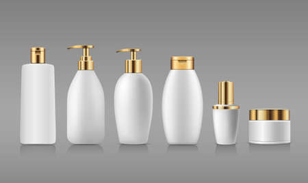 Bottle white products with gold cap, collection mock up template design on gray background, Eps 10 vector illustration
