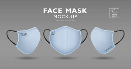Face mask with blue color fabric mockup, front and side, realistic template design isolated on white background, Eps 10 vector illustration Ilustração