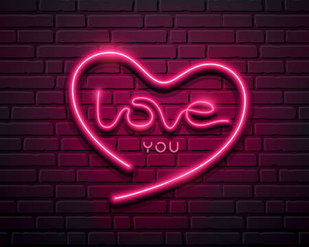 Heart shape love you message neon iight pink color, design on block wall black background, Eps 10 vector illustration