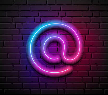 At sign neon iight colorful design, on block wall black background, Eps 10 vector illustration