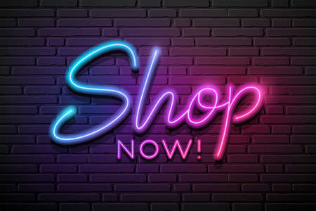 Shop now message neon light colorful design,on block wall black background, Eps 10 vector illustration