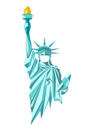 State of liberty vector with put white face mask, design isolated on white background, Eps 10 illustration