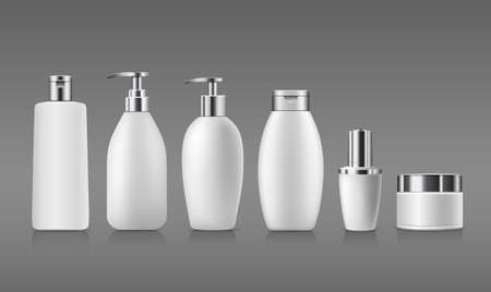 Bottle white products with silver cap, collection mock up template design on gray background, Eps 10 vector illustration