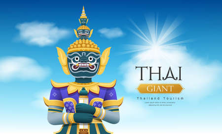 Thai giant vector, on cloud and sky design on blue background, vector Eps 10 illustration