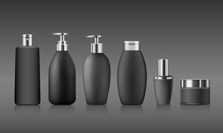 Bottle black products with silver cap, collection mock up template design on gray background, Eps 10 vector illustration Ilustrace