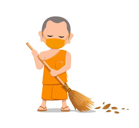 Thai monk put face mask virus protection, is leaf sweep, design isolated on white background, vector Eps 10 illustration