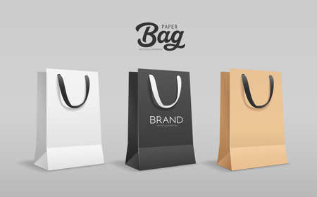 Paper bag small size, with black and white cloth handle collections design, template on gray background, Eps 10 vector illustration Ilustração