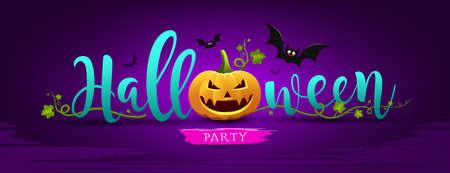 Happy Halloween party message pumpkin, design banner with bat on night purple background, vector Eps 10 illustration
