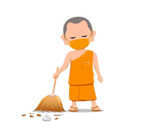 Thai monk put face mask virus protection, holding broom is leaf sweep, design isolated on white background, vector Eps 10 illustration