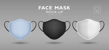 Face mask fabric blue, black, white color mock up front template design, on gray background, Eps 10 vector illustration