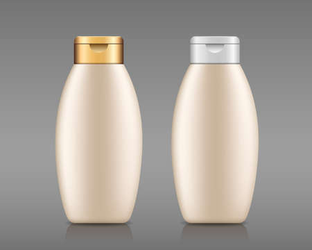 Cream products bottle with gold and white cap, collection template design on gray background, Eps 10 vector illustration  イラスト・ベクター素材