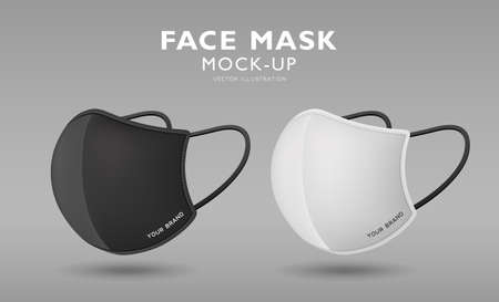Face mask fabric black and white color mock up side view, template design, on gray background, vector illustration